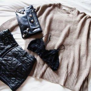Zara grey waffle knit crewneck  oversized sweater